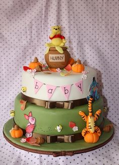 Winnie The Pooh Fall Baby Shower Cake I want this to be my baby's first cake <3