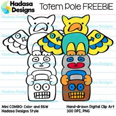 This month I'm joining for the first time a group of incredibly talented artists and offering you a freebie as part of the TPT Clip Artists' Collaborative project. Click on the links below to find other western-themed free clip art. #tptCCmar2017Hadasa Designs: Totem Pole Clip Art FREEBIE: This clip art set contains 2 image files in total, which includes 1 COLOR image and 1 BLACK & WHITE image.
