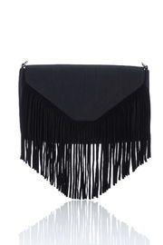Black Suedette Tassel Bag