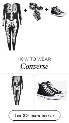 """""""Skeleton Costume"""" by omarimcneil on Polyvore featuring Boohoo and Converse"""