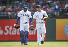 CrowdCam Hot Shot: Texas Rangers starting pitcher Martin Perez walks to the dugout with catcher A.J. Pierzynski before the game against the Oakland Athletics at Rangers Ballpark in Arlington. Photo by Kevin Jairaj
