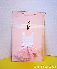 Homemade ballerina postcard invite for birthday party