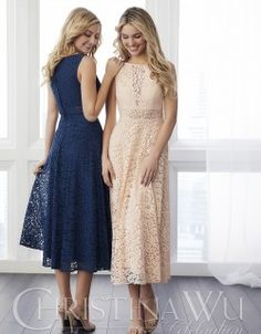 Jacquelin Bridals Canada - 22791 - Bridesmaids - This fun, fashion forward dress features an updated tea length skirt, a sheer waist a sheer bodice detail. Pictured in Navy/Navy, Blush Pink/Blush Pink. Tea Length Bridesmaid Dresses, Tea Length Dresses, Bridesmaids, Lace Dresses, Bride Dresses, Pretty Dresses, Wedding Frocks, Wedding Party Dresses, Lace Wedding