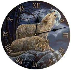 "2 Wolves clock 11 1/2"""