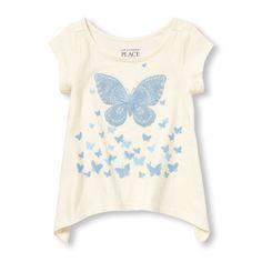 Toddler Girls Short Sleeve Embellished Graphic Hankey Hem Top