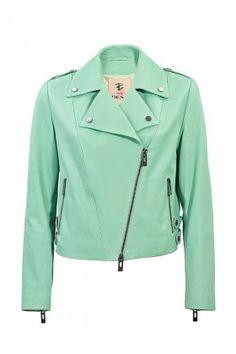 BUSEforDESA Beijo Kadın Su Yeşili Deri Ceket: Lidyana.com