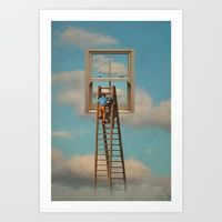 Art Print featuring Window cleaner in the sky by vin zzep