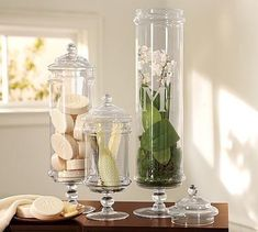 Dollar Tree Apothecary Jar- love this idea  http://thesteenstyle.com/2010/11/22/dollar-tree-apothecary-jar/