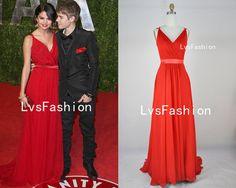 Straps Vneck Chiffon Red Long Prom Dress Evening by LvsFashion, $169.00