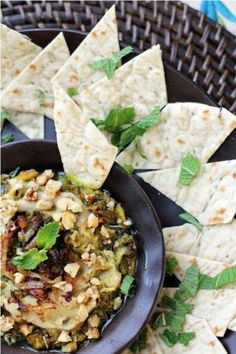 Kashke Bademjan #recipe (a Persian eggplant spread). Serve with California Lavash flatbread or homemade chips!