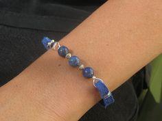 Blue leather bracelet lapis lazuli gemstone by SunshineDaydreamz, $16.00