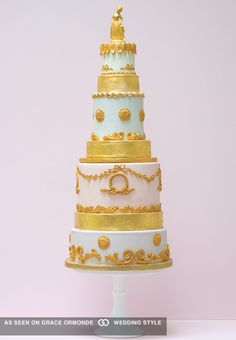 marie antoinette inspired wedding cake with gold accents