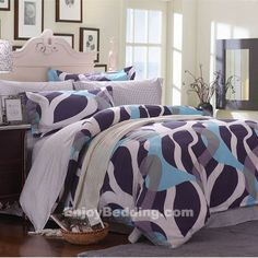 Houndstooth Style 100% Cotton Bedding Sets in blue and white - EnjoyBedding.com
