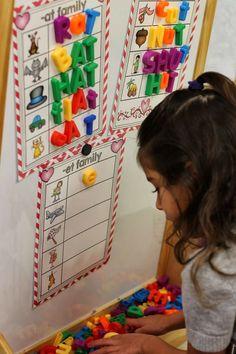 Word Work Ideas (from Kindergarten Smiles) ***love the board/shelf idea***