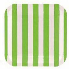 Green stripet paper party plate