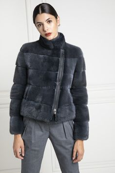 Mink Jacket with Zip - Length 65 cm