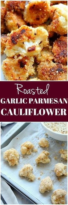 Garlic Parmesan Cauliflower Roasted Garlic Parmesan Cauliflower Recipe - crispy cauliflower bites with garlic Parmesan breading, baked in the oven instead of fried. So tasty!Roasted Garlic Parmesan Cauliflower Recipe - crispy cauliflower bites with garlic Side Dish Recipes, Vegetable Recipes, Vegetarian Recipes, Cooking Recipes, Healthy Recipes, Healthy Cauliflower Recipes, Califlower Recipes, Parmesan Cauliflower, Vegan Recipes