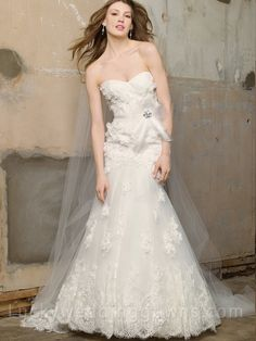 Crystal Beaded and Embroidered Lace Ribbon Wedding Dress
