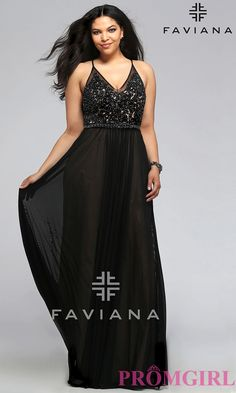 Long v-neck plus size Faviana prom dress with embroidered top.  Style: FA-9373