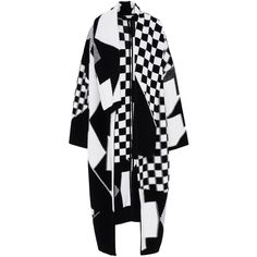 Stella Mccartney Black And White Check Cape (13.633.135 IDR) ❤ liked on Polyvore featuring outerwear, multicoloured, wool capes, woolen cape, wool cape coats, cape coats and black and white cape