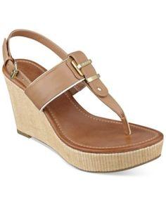 Tommy Hilfiger Maree Platform Thong Wedge Sandals-Black, Blue,Sable,White-$59.99