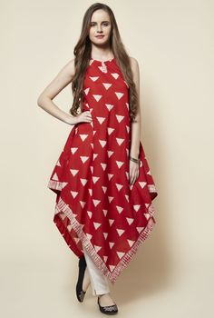 Red Cotton Sleeveless Triangle Kite Kurta #Kurta #Red #Cotton #Sleeveless