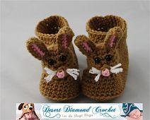 Ravelry: 047 - Cotten Tail Bunny Slippers pattern by Rebecca Goldsmith  $5.95