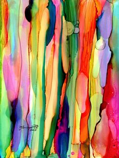 Rainbow Eucalyptus Tree Alcohol Inks on Yupo by kauaiartist