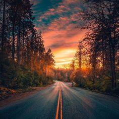 ֹ ☛ Pano by ✦ Chosen by ✦ Congratulations 🏆 ✦ Tag your best shots to ✦ Founders ☛ &… Beautiful Roads, Beautiful Streets, Beautiful World, Scenic Photography, Landscape Photography, Nature Photography, Nature Pictures, Beautiful Pictures, Sunset Wallpaper