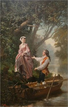 Elegant lady at the boat by Prudent Louis Leray (1820-1879)
