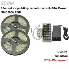 79.98$  Watch now - http://ali3qq.worldwells.pw/go.php?t=32240110939 - 10m RGB LED Strip 44key remote control 2ch Connector Cable 5050 60leds/m ip65 Waterproof 10A Power Adapter Flexible Strip