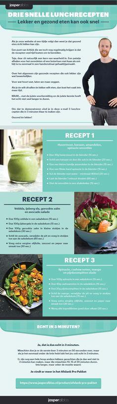 Download 3 Snelle Lunch Recepten - JasperAlblas.nl Healty Lunches, Healthy Recepies, Healthy Snacks, Arugula Salad Recipes, Summer Salad Recipes, Summer Salads, Tzatziki, Gnocchi, Clean Eating Challenge