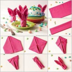 DIY Bunny napkin folding tutorial. Follow us: www.facebook.com/fabartdiy