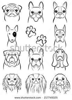 Drawing Doodles Sketches Illustration of Dog / Line drawing vector art, clipart and stock vectors. Image - - Millions of Creative Stock Photos, Vectors, Videos and Music Files For Your Inspiration and Projects. Cartoon Drawings, Animal Drawings, Easy Drawings, Drawings Of Dogs, Bulldogge Tattoo, Dog Line Drawing, Dog Line Art, Dog Drawing Simple, Cute Dog Drawing