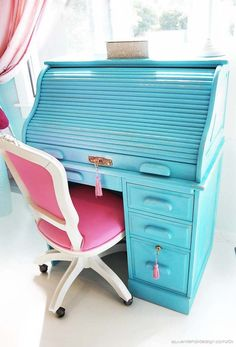 Painted Roll Top Desk