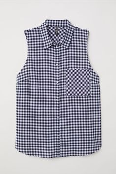 Sleeveless blouse in airy woven fabric with a collar. Buttons at front chest pocket yoke at back and tie-front hem. Shirt Refashion, Tie Front Blouse, Blue Check, Western Outfits, Cute Fashion, Sleeveless Blouse, Blouse Designs, Fashion Online, Cool Outfits
