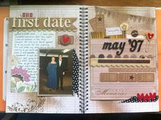 Making a scrapbook for our one year anniversary page one down