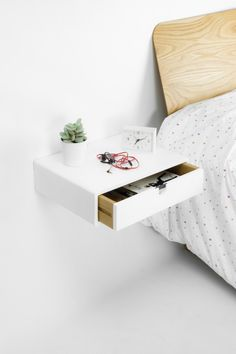 Floating White Nightstand / Bedside Table / Drawer, Scandinavian  Mid Century Modern Retro Style