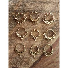 Brass Septum Ring, 9 Designs, Handmade Real Septum Fake Septum Ring,... ($4) ❤ liked on Polyvore featuring jewelry, rings, cuff rings, artificial jewellery, tribal jewelry, imitation jewelry and fake jewelry