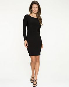 Knit Long Sleeve Open Back Dress - This knit dress presents an elegant way to show off some skin with a neckline that is low at back.