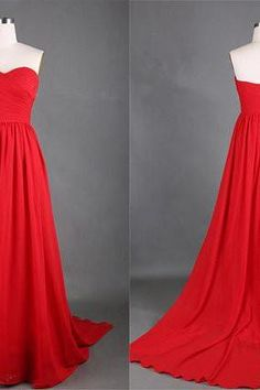 Hot Sale Red Gorgeous Sweetheart Neckline A Line Sweep Train Prom Dresses 2015 Party Dress, Bridesmaid Dresses 2015, Wedding Dress