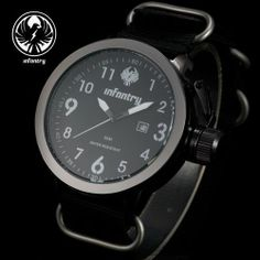 INFANTRY MENS MILITARY SPORT WRIST WATCH DATE QUARTZ SPORT BLACK NYLON CANVAS