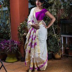 Gold & Purple Taamara Saree
