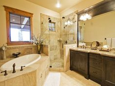 Craftsman Full Bathroom with Frameless, Undermount sink, MS International Caramel Taupe Granite Countertop, Master bathroom