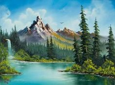 Choose your favorite bob ross paintings from millions of available designs. All bob ross paintings ship within 48 hours and include a money-back guarantee. Waterfall Paintings, Scenery Paintings, Mountain Paintings, Bob Ross Paintings, Paintings For Sale, Original Paintings, Landscape Art, Landscape Paintings, Pinturas Bob Ross