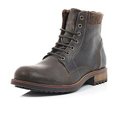 Brown leather cleated combat boots - boots - shoes / boots - men
