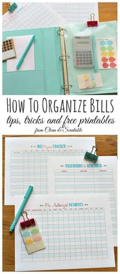 Lots of great tips to keep up with your bill payments including these free printables. Great for a family binder! // cleanandscentsibl...