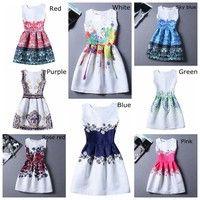 Wish | Women Colourful Sleeveless Graffiti Print summer Dresses girls A Line skirt