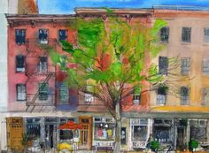Avenue between and Streets, New York, Peter Quinn RWS watercolour cm 2014 Drawing Sketches, Drawings, Urban Sketching, Artsy, New York, Paintings, Watercolor, Contemporary, Landscape