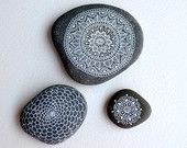 Set of 3 Hand Painted Stone Mandalas - Limited  Edition